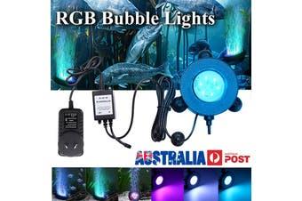 Smuxi RGB Underwater Round Fish Tank Lamp 6 LEDs Air Bubbles Aquarium Submersible Light Festival Home Decor US/EU/UK/AU(AU Plug)