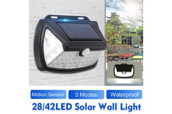 Solar Powered Wall Light 28/42 LED PIR Motion Sensor 3Modes Waterproof IP65 Security Floodlight Street Lamp Outdoor Yard Garden Stair (28LED)