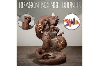 Dragon Ceramic Backflow Cone Incense Burner Porcelain Holder With 10 Cones