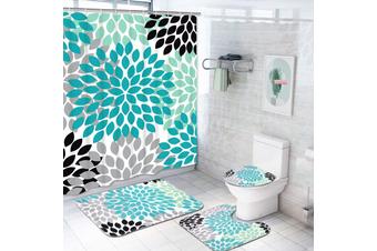 1/3/4pcs Waterproof Bathroom Shower Curtain Mats Rugs Set No-Slip Quickly Dry Soft Bath Mats Set(3Pcs Bath Rug Set)