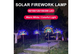 LED Solar Starburst Fairy Lights Stake Outdoor Garden Path Lawn Lamp Garden Decoration Light Waterproof(multicolor,1PC 90LED)