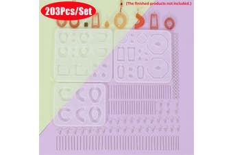 203Pcs Resin Molds Casting Silicone DIY Jewelry Making Kit Pendant Craft Cool(01 203Pcs)