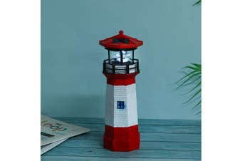 Solar Powered Garden Lighthouse LED Yard Ornament Lamp Home Decration Ornament(redwhite,9cm by 9cm by 27cm)
