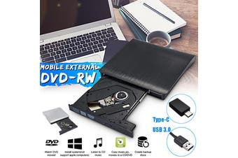 USB 3.0 External CD DVD Writer Drive Slim Portable CD-RW DVD-RW Burner ROM Drive for PC Laptop(black,USB 3.0)