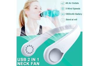2 In1 Portable USB Rechargeable Fan Neckband Dual Cooling Mini Fan Lazy Neck Hanging(white,Type A(New Version))
