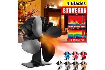 1350RPM 25dB 200CFM 4 Blades Stove Fan Fireplace Fire Heat Powered Saving Ecofan(Black)