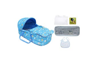 Baby Moses Basket Safe Newborn Travel Bed Bassinet Carrier Cradle With Hood Cute(blue)
