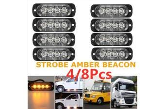 2/4/8Pcs 12-24V 4LED Slim Flash Light Bars Car Truck Vehicle Emergency Warning Strobe Lamps(1pcs)