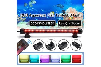 28CM RGB Bluetooth APP Waterproof IP68 Underwater 15LED 5050SMD Aquarium Light Fish Tank Tube Lamp Submersible,White/White+Blue/RGB Crystal Glass AC100-240V (28CM AU Plug)