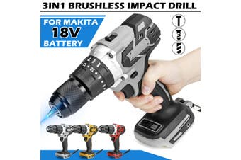 "1/2"" Brushless Cordless Drill Compact Impact Combi Drill Driver For Makita 18V Battery(grey,Makita 18V Battery Not Included)"