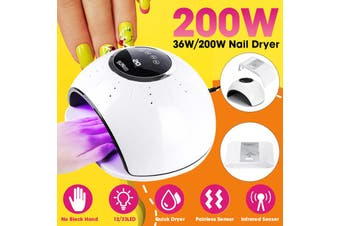200W UV 33LEDs Lamp Nail Dryer Smart Manicur Polish Machine Gel Curing Art (white,EU Plug Nail Lamp)