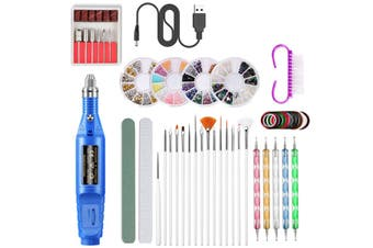 /50pcs Mini Wireless Electric USB Nail Polisher Nail Polishing Pen Nail Pen Drill Pen Rhinestone Nail File Jewelry Set(blue,50PCS/SET)