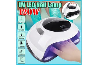 120W Nail Dryer Fast Curing Speed Gel Light Nail LED UV Lamp For All Kinds of Gel With Timer Smart Sensor(US Plug)