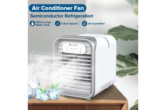 【Air Cooler+Fan+Humidifier】AUGIENB Air Cooler Air Conditioner Fan Mini Portable Desk Noiseless Evaporative Air Humidifier With 500ml Large Water Tank + LED Mood Light 3 Gear Speed LED Touch Screen Buttons(white,updated version)