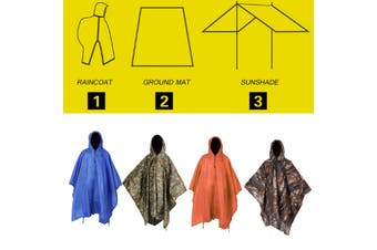 3 IN 1 Poncho Waterproof Hoody Raincoat Hiking Rain Coat Camping Mat Shelter (armygreen,3 in 1 Raincoat)