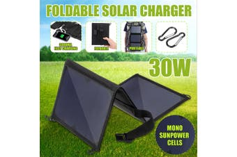 30W Waterproof Folding Solar Panel Power Bank Outdoor Camping Hiking USB Battery Charger(black,30W)