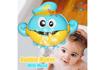 Music Bubble Machine Maker Bath Octopus Toys for Infant Baby Kids Happy Tub Time(blue,Without Music)