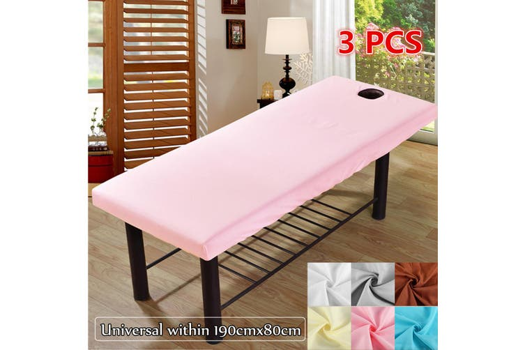 【2020 NEW+ Flash Deal】Massage Treatment Bed Cover Washable Polyester Cotton Table Sheet With Face Breath Hole(pink,1PC)
