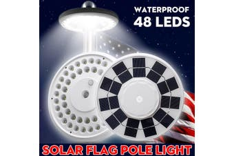 Solar Flag Pole Light 48 LED Super Bright Night Light For Camping Home Yard Farm