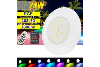 24W 108LED RGB Swimming Pool Light Spa Underwater Fountain Lamp + Remote control(multicolor,108LED with remote)