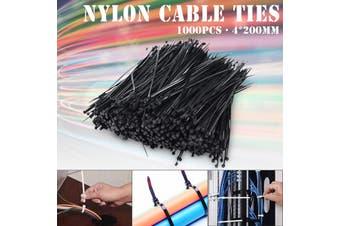 "1000pcs 8"" Nylon Plastic Zip Trim Wrap Cable Loop Cord Wire Ties Strap Self Lock"