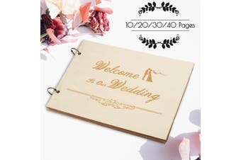 Wedding Decor Guest Book Wooden Engagement Party Guestbook 10/20/30/40 Pages