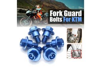 6Pcs Aluminum Motorbike Fork Guard Bolts Kit For KTM 65SX 85SX 2003-2015 KTM125-530 2000-2016 Blue/ Orange(blue)