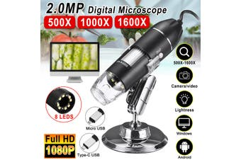 Full HD 1080P Digital Microscope Magnifier W/8LED Endoscope Camera Video +Stand