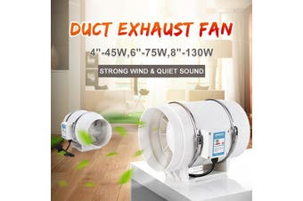 """4"""" 45W Industrial Inline Duct Fan Hydroponic Ventilation Extractor Exhaust Air Blower Powerful and Silent"""