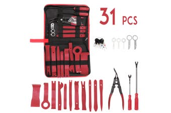 31Pcs Car Audio Trim Removal Panel Hand Tool Pry Bar Molding Plastic Interior (red,31pcs- with bag)