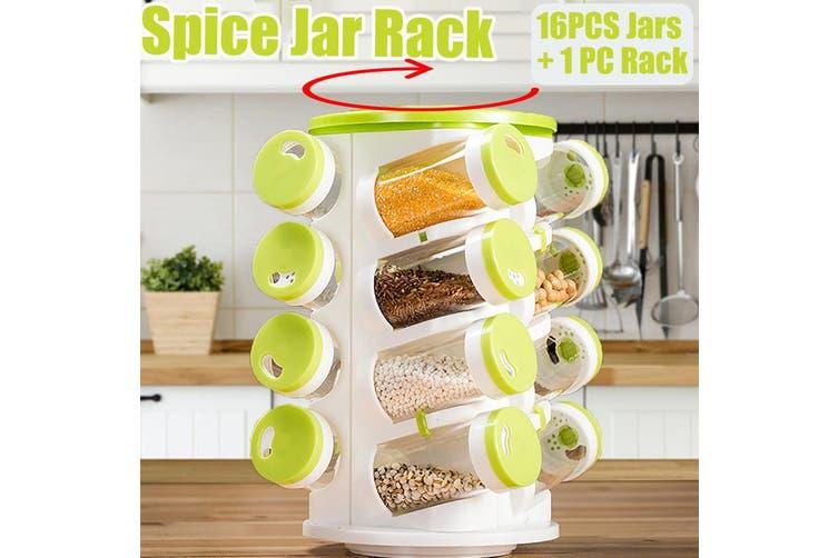16 Jar Plastic Spice Rack 360° Rotating Revolving Masala Herbs Rack Holder Unit ABS PP SavingKitchen Counter Space(16PCS Jars and 1PC Rack)