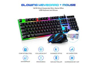 Wired Suspended Light-emitting Gaming USB Keyboard With Mouse For Office Game(black,Keyboard With Mouse)