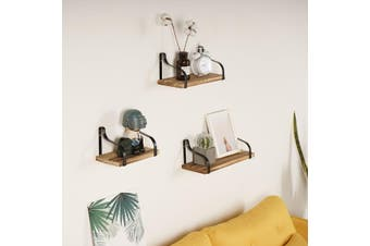 3Pcs Rustic Wood Floating Shelves Wall Mounted Storage Kitchen Bathroom Shelf