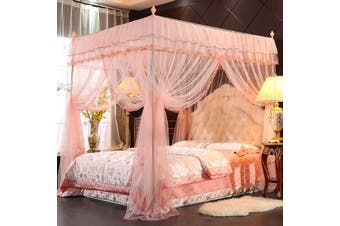 2.2X1.8M Princess 4 Poster Bed Square Mosquito Net Insect Protect Canopy Netting(peach,TypeC 1.8x2.2m)