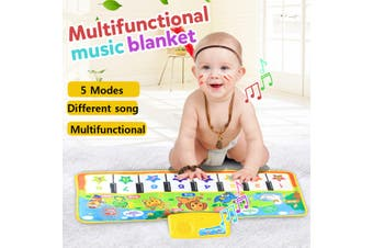 5 Music Modes Kids Touch Animal Piano Toy Singing Game Crawling Mat Blanket Rug(Type2 27.09x10.92inch)