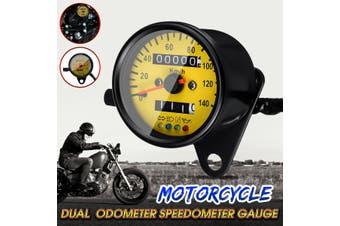 Motorcycle Dual Odometer KMH Speedometer Gauge Meter LED Backlight Signal Light(yellow)