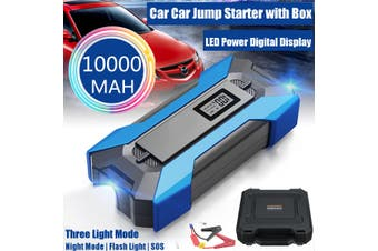 99900mAh 3USB 2 Type C Port Fast Charger LED Digital Display 3 light Mode 12V Portable Car Jump Starter with Box Power Bank USB For Car Emergency Start SOS Flash Light(blue)