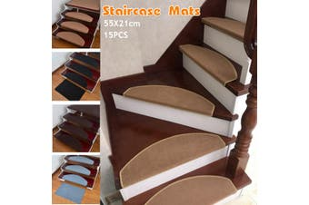 15PCS Self-Adhesive Staircase Mats Anti-Skid Step Rugs Safety Mute Floor Mats Indoor Warm Mat (khaki,14Pcs)