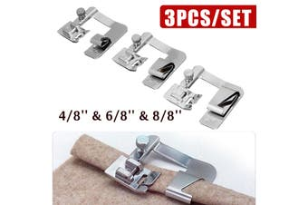 3Pcs Domestic Sewing Machine Foot Presser Roll Hem Hemming Cloth Strip Feet Set