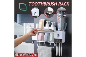Toothpaste Toothbrush Holder Creative Wash Cup Storage Rack Bathroom Wall Stand(4-Frame Toothbrush Holder)