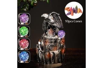 (with10pcs Free Cones)LED Lighting Incense Burner Dragon Backflow Censer Resin Home Buddha Decor(7.7x4.5x6.1inch)