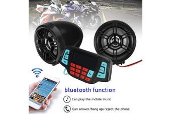 Pair Motorcycle Handlebar Audio System USB SD FM Radio MP3 Speakers(Full Black)