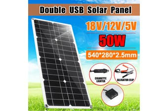 50W Solar Panel Dual USB Output Solar Cells 5/18V Monocrystalline Solar Cell DIY Module Cable Outdoor Connector Battery Charger