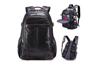 Black PU Leather Backpack Large Waterproof Laptop Computer Backpack School Bag Travel Rucksack for Men Boy