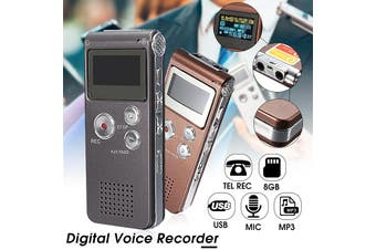 Rechargeable 8GB 650Hr Digital Audio/Sound/Voice Recorder Dictaphone MP3 Player Grey(grey,8GB)