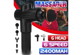 6 Speeds Massage Tool Deep Percussion Massager Muscle Vibrating Relaxing + 6 Head(black,US Plug)