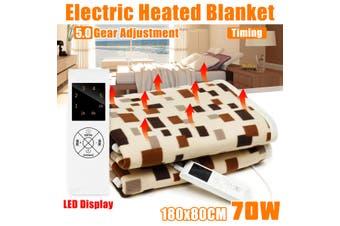 【Free Shipping + Flash Deal】220V 70W Electric Heated Blanket Throw Warm Flannel Heater 5 Gears Waterproof(B 70W 180X80CM)