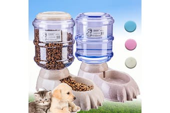 3.8L Large Automatic Pet Food Dispenser Dog Cat Feeder Water Bowl Home Gray(marble,Food Feeder)