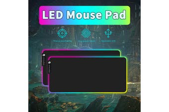 US Large LED Colorful RGB Lighting Gaming Mouse Pad Keypad Mat For PC (900x400x4mm)