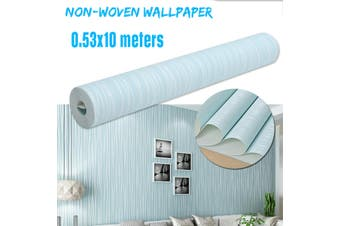 Non-woven 3D Luxury Stripe Embossed Wallpaper Home Decor Wall Paper Roll Pink/Blue/White/Sliver(lightblue,1Pcs)